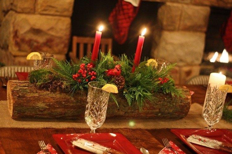 cena de navidad ideas creativas rustico velas