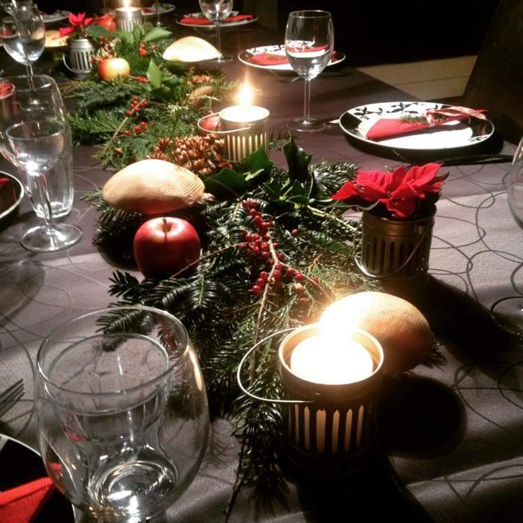 cena de navidad ideas creativas vajilla manzanas