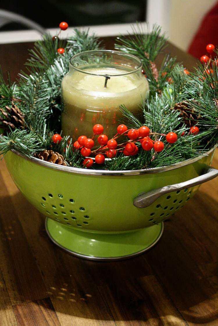 cena de navidad ideas creativas verde madera