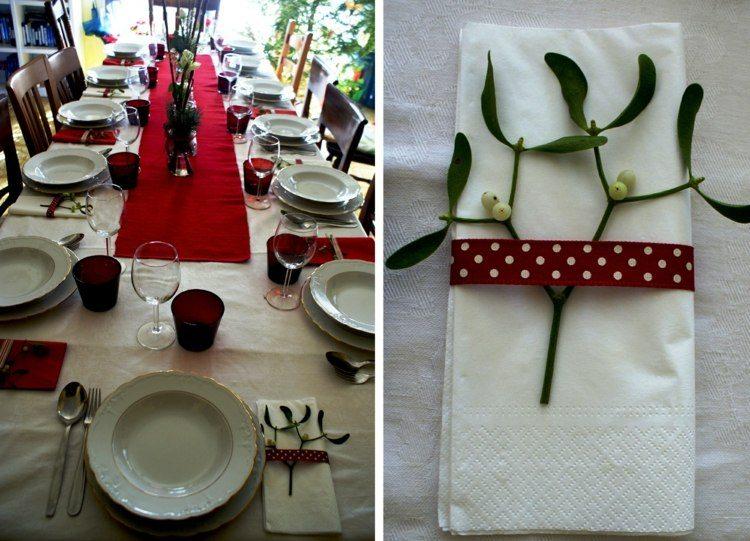cena de navidad ideas rojo plantas flores