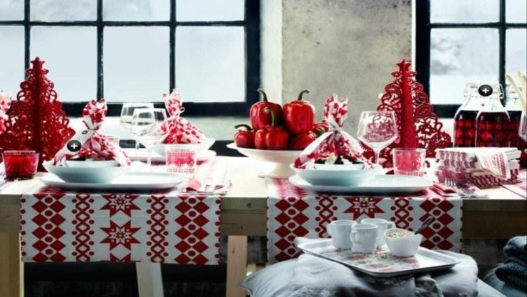 cena navidad centros mesa adornos rojos ideas