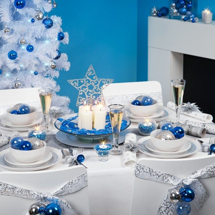 cena navidad centros mesa azul blanco ideas