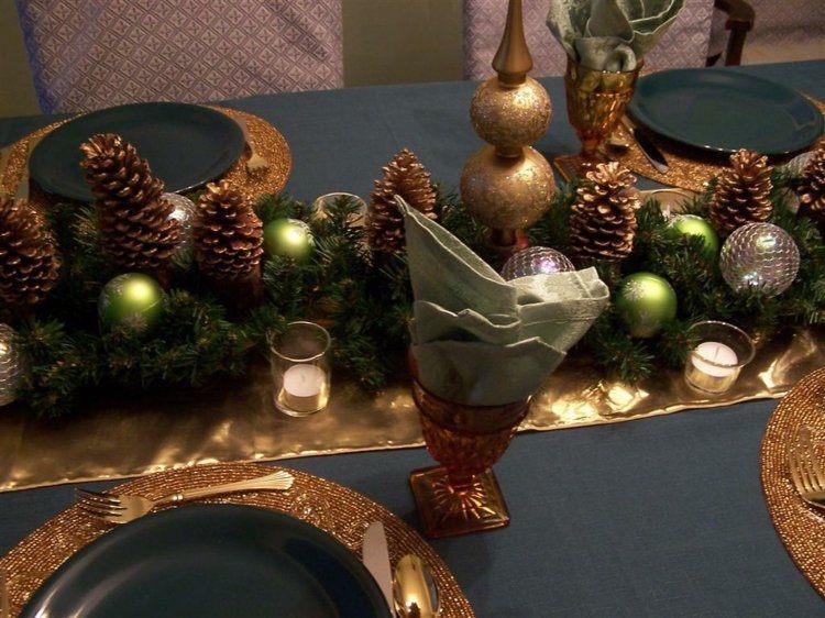 cena navidad centros mesa bolas verdes pinas ideas
