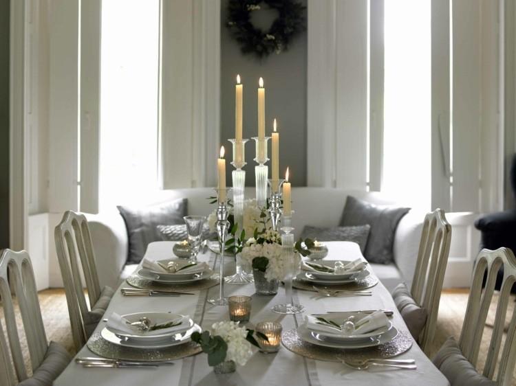 cena navidad centros mesa elegante blanco ideas