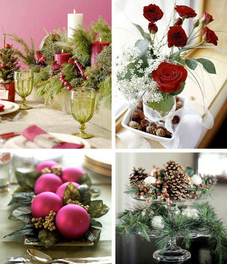cena navidad centros mesa flores bolas ideas