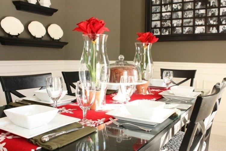 cena navidad centros mesa flores rojos ideas