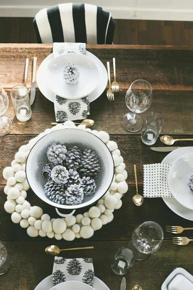 cena navidad centros mesa guirnalda blanca ideas