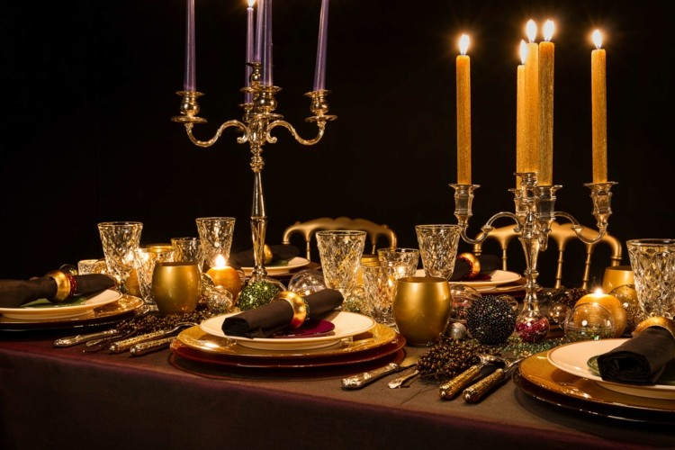 cena navidad centros mesa oro brillante ideas