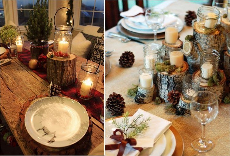 cena navidad centros mesa pinas velas ideas
