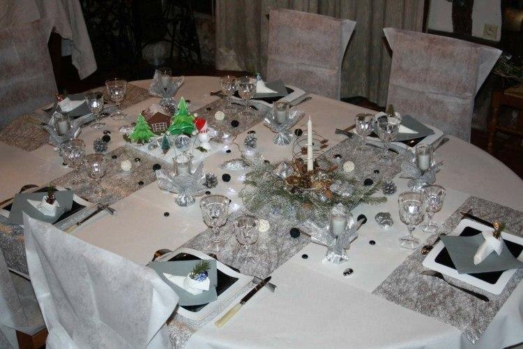cena navidad centros mesa plata negro ideas