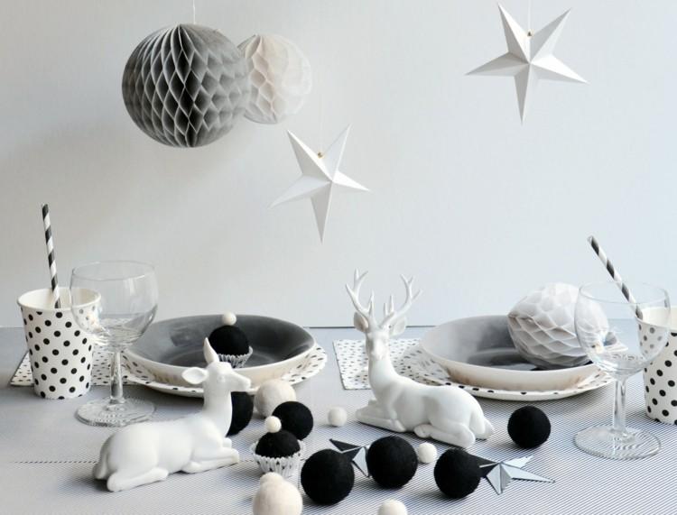 cena navidad centros mesa renos blancos ideas