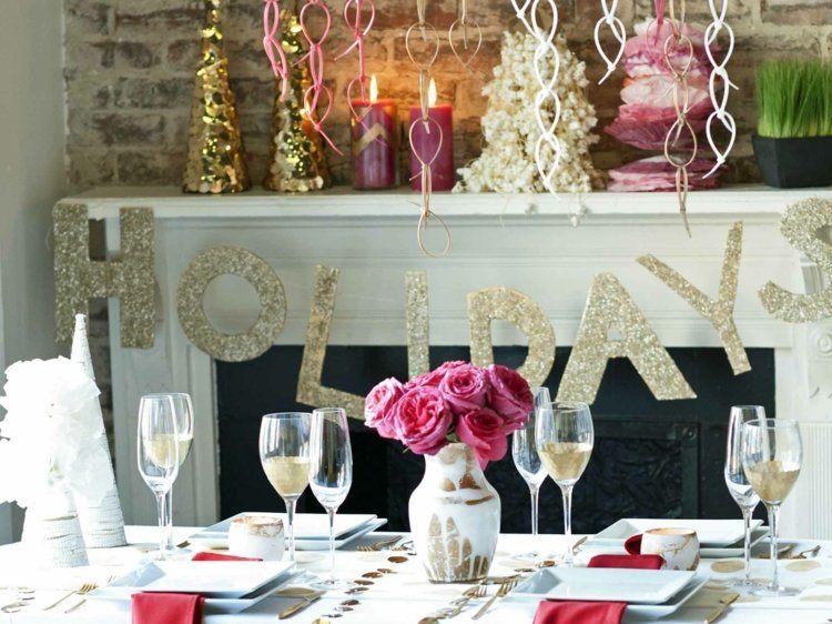 cena navidad centros mesa rosas ideas