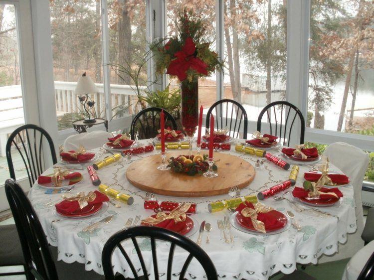 cena navidad centros mesa velas rojas ideas