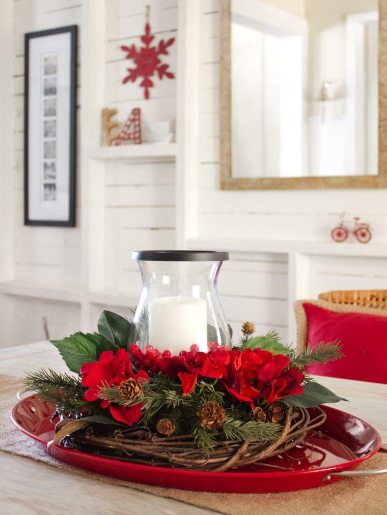 centro mesa vela blanca flores