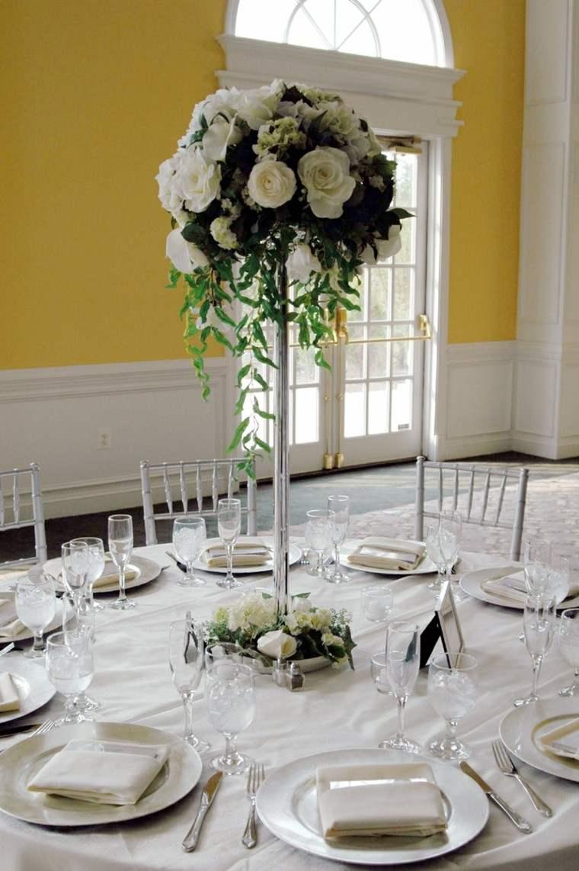 centro mesa alto rosas boda