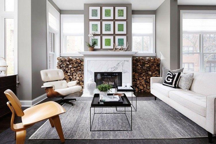 chic moderno salon chimenea mesas acero negro ideas
