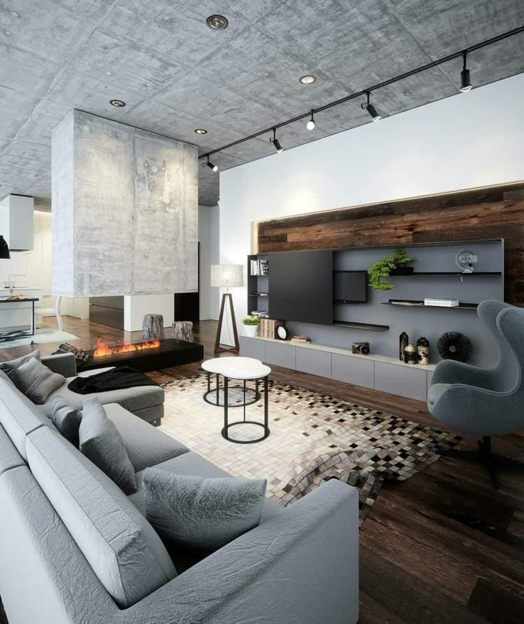 chimenea moderna calor salon alfombra preciosa ideas