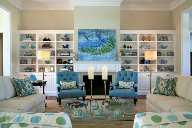 chimeneas modernas calor salon azul beige ideas