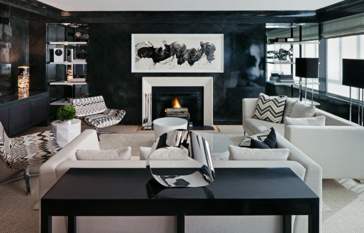 chimeneas modernas calor salon blanco negro ideas