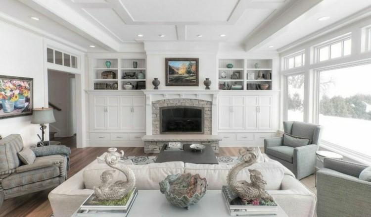chimeneas modernas calor salon blanco ideas