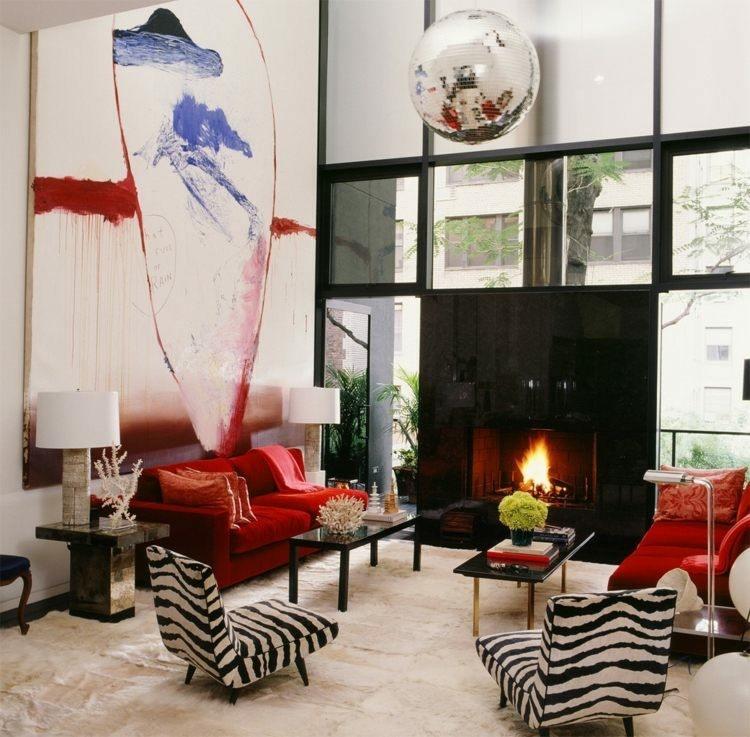 chimeneas modernas calor salon colores vibrantes ideas