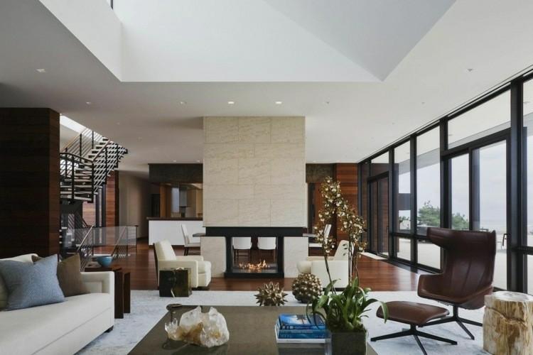 chimeneas modernas calor salon decoracion ideas