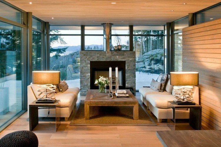 chiemenea moderna calor salon mesa madera ideas