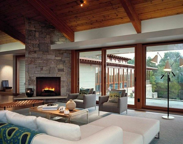 chiemenea moderna calor salon piedra natural ideas