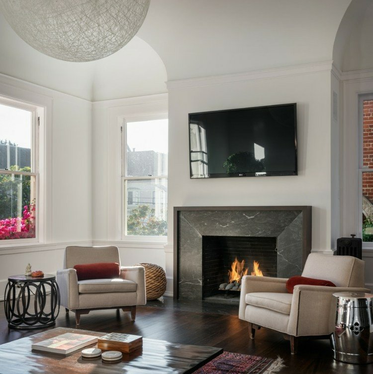 chiemenea moderna calor salon sillone televisor ideas
