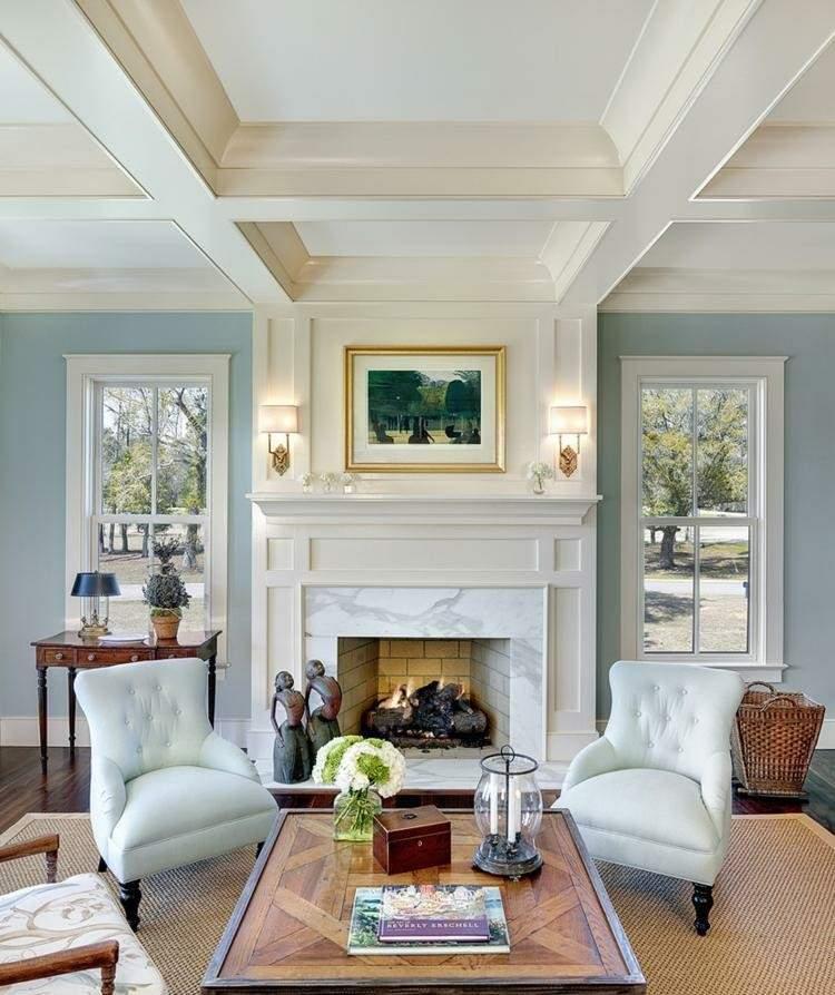 chiemenea moderna calor salon sillones azules ideas