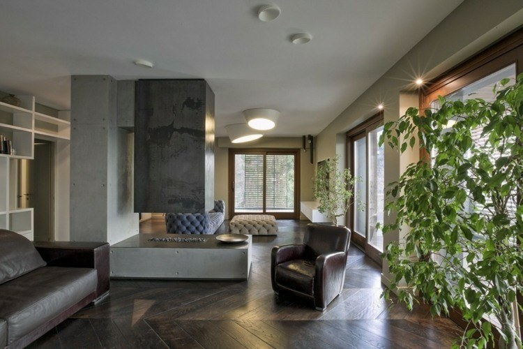 chiemenea moderna calor salon sillones cuero ideas