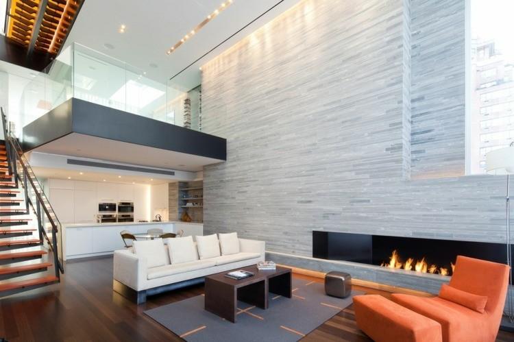 chiemenea moderna calor salon sofa blanca ideas