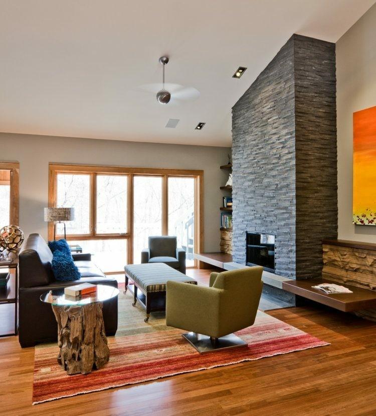 chiemenea moderna calor salon suelo madera ideas