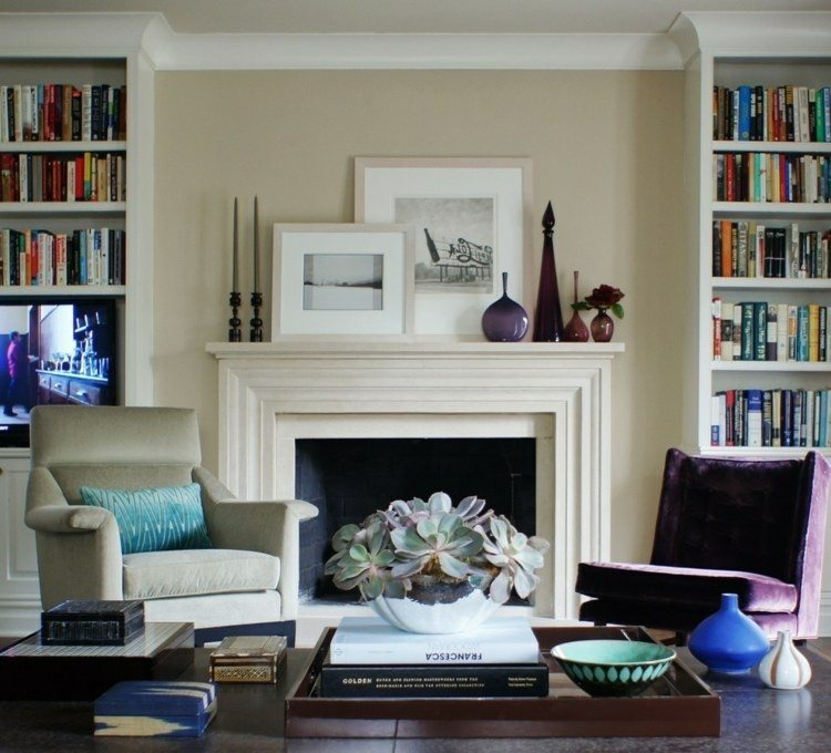 chiemenea moderna decorada calor salon ideas
