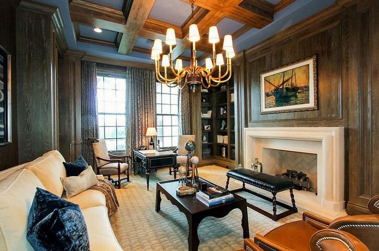 oficina estilo casa muebles madera chimenea ideas