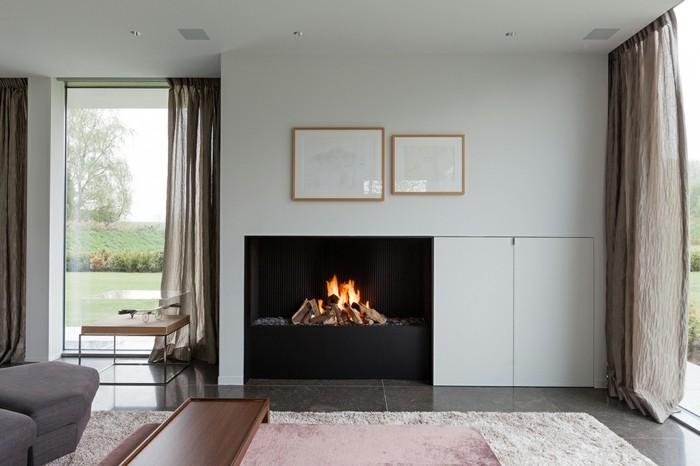 chimeneas modernas integradas pared