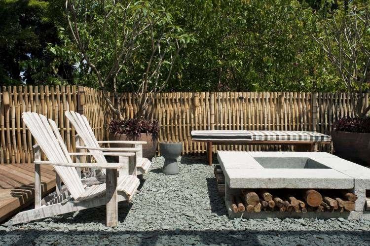 chimeneas de leña estilos bambu exteriores