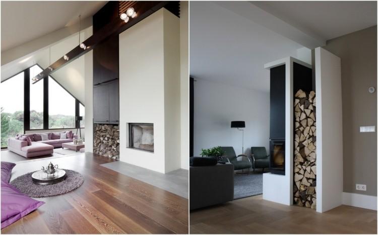 chimeneas de leña estilos estilos cojines madera