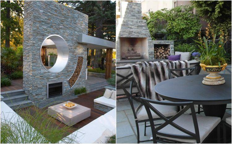 chimeneas de leña estilos estilos jardines plantas