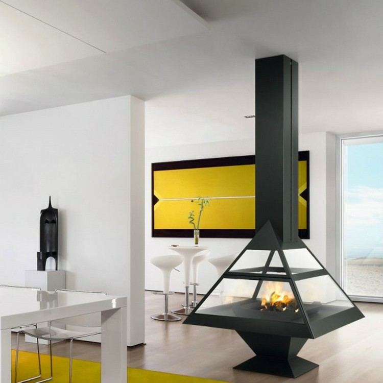chimeneas modernas ideas amarillos gris