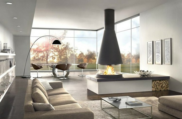 chimeneas modernas ideas lamparas led