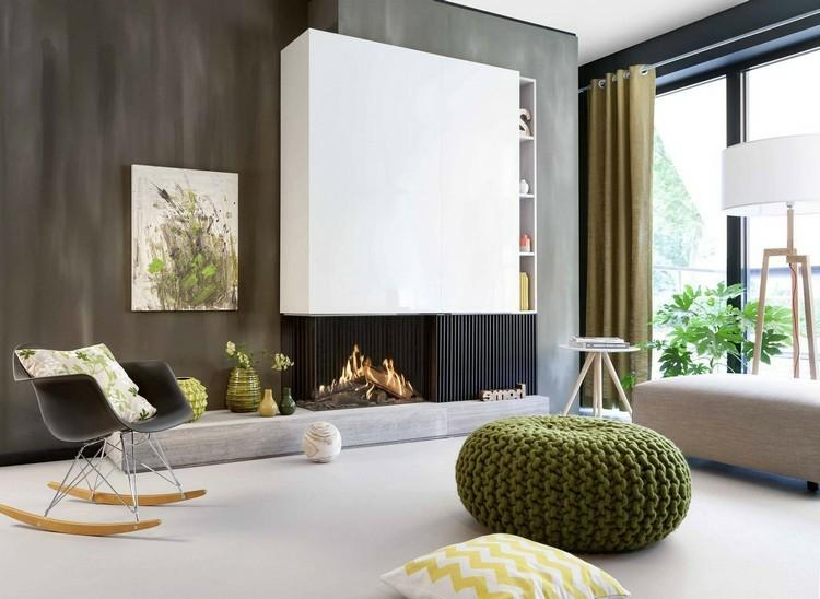 chimeneas modernas ideas contemporaneo puff verde