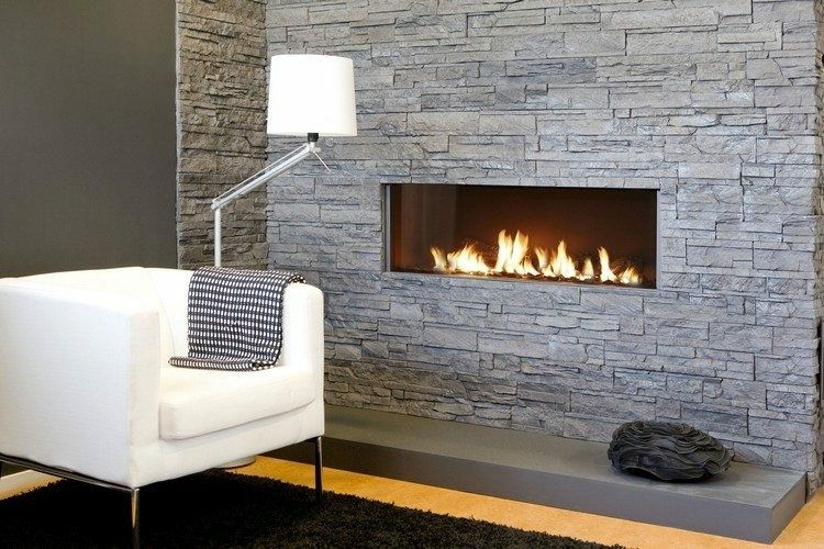 chimeneas modernas ideas cuadros rocas lampararas