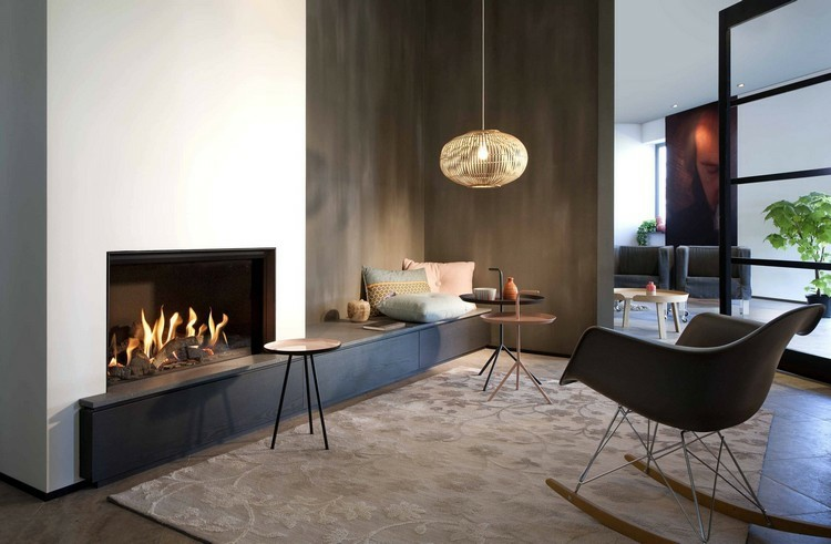 chimeneas modernas ideas fuego madera sillas
