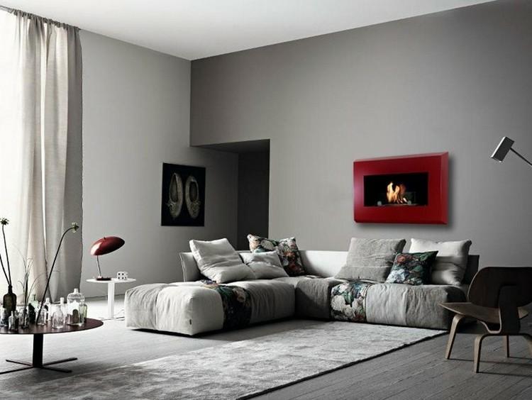 chimeneas modernas ideas lamparas rojo