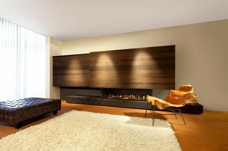 chimeneas modernas ideas maderas amarillo