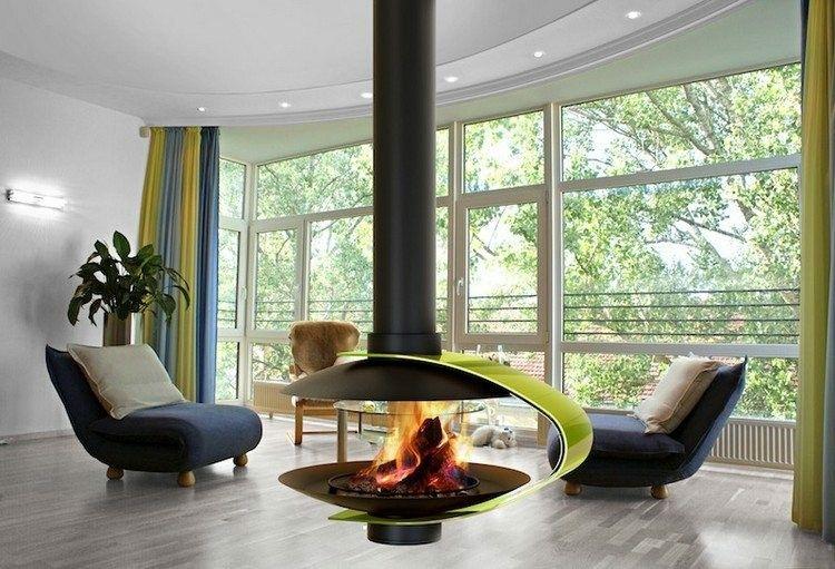 chimeneas modernas ideas metales cortinas