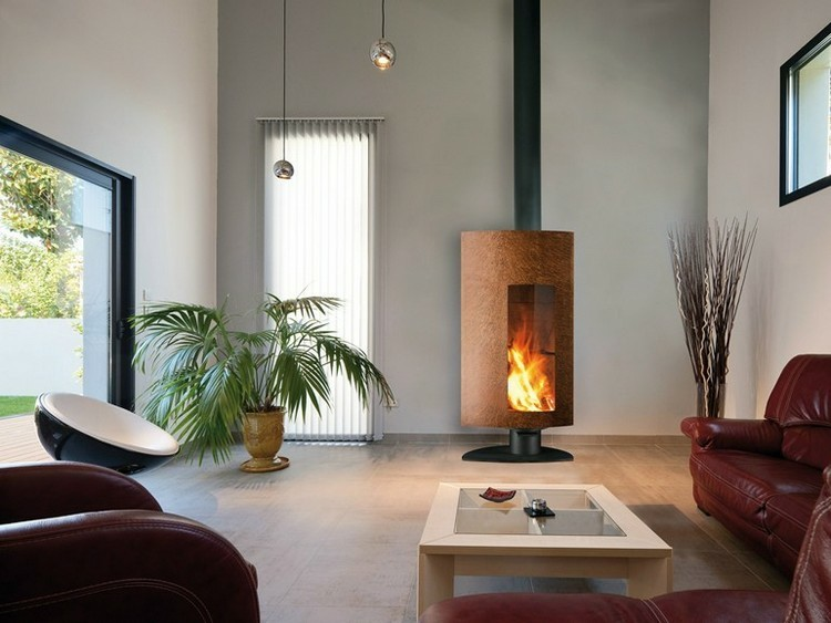 chimeneas modernas ideas plantas vidrios