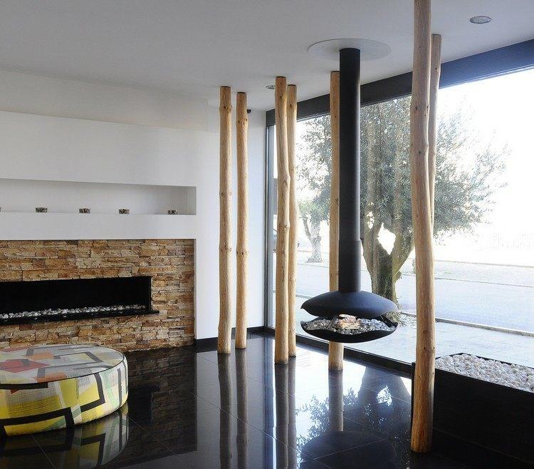 chimeneas modernas ideas rocas madera