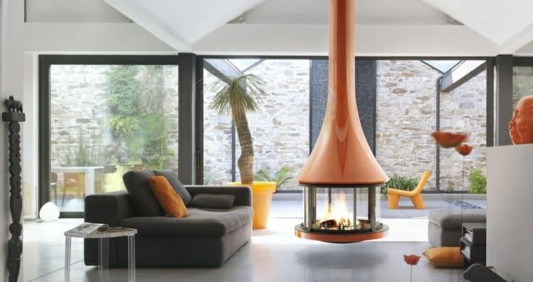 chimeneas modernas ideas rojo diseño